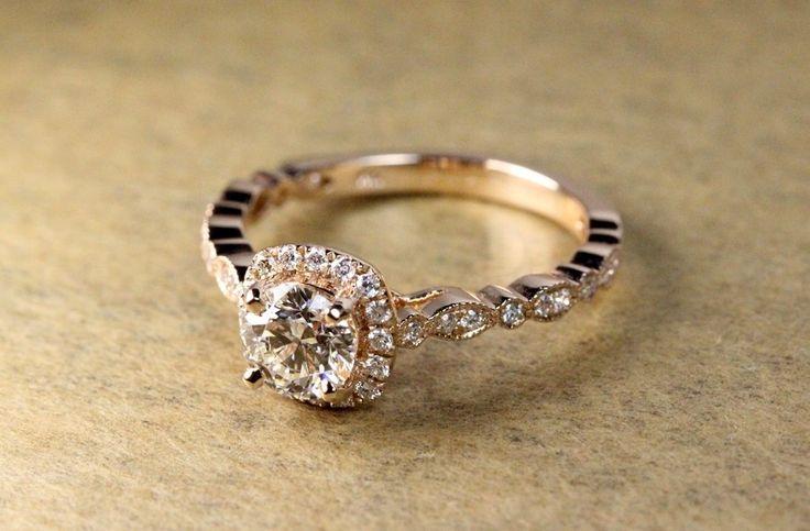Rose Gold Halo Engagement Ring!