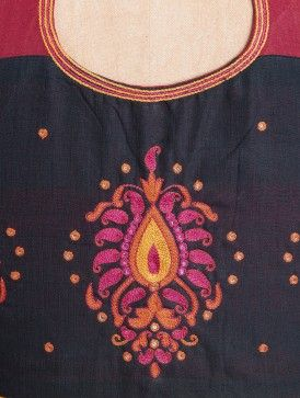 Rust-Pink Embroidery Detail Back Cotton Blouse By Svasa
