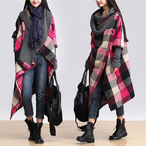 Women winter woolen long sleeve pink coat - Buykud- 1