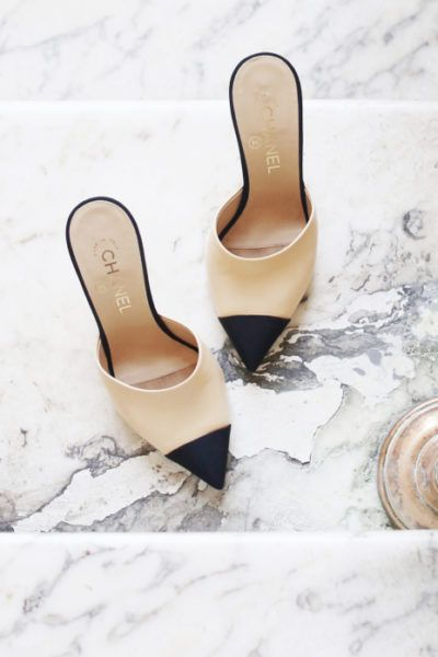Chanel Two-Tone Slingback Pumps