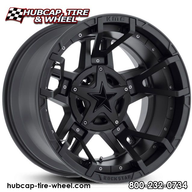KMC XD Seires Rockstar 3 XD827 Matte Black w/ Black Split Spoke Inserts & Black Star Center Cap Wheels Rims