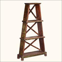 "Eifel Tower Reclaimed Wood 51"" Wall Unit Display Book Shelf"