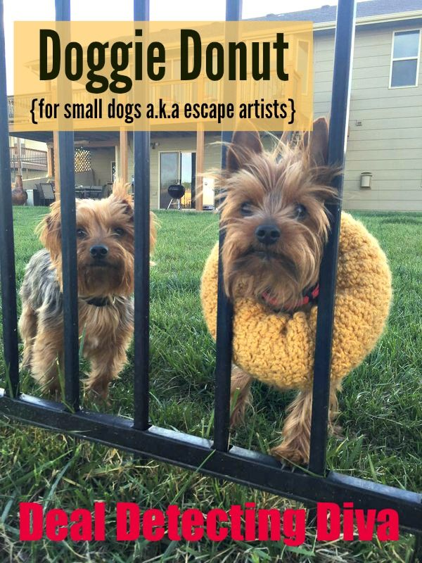Doggie Donut: Dog Collar for Wrought Iron Fences, FREE Crochet Pattern. Hmmm...I wonder if this could work in place of an Elizabethan bucket.