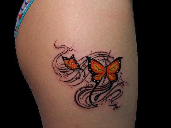 Butterfly Tattoo on thigh - 55 Thigh Tattoo Ideas
