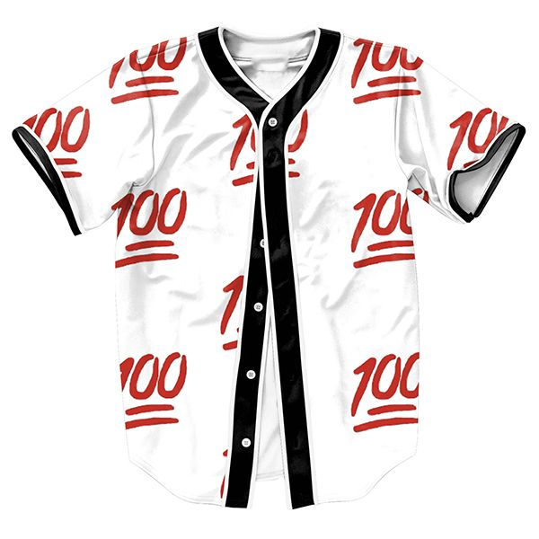 US size Fashion Jerseys Baseball Men Women Unisex 3D Print Clothes 100 Emoji 3 Colors