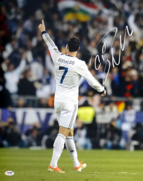 This is a 16x20 Photo that has been hand signed by Cristiano Ronaldo. The autograph has been certified authentic by PSA/DNA and comes with their sticker and matching certificate of authenticity.