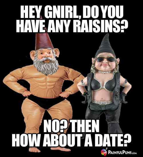 Sweet Pick-Up Line: Hey Gnirl, do you have any raisins? No? Then how about a date?