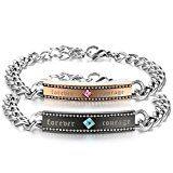 """#7: JewelryWe バレンタインデー 愛の証に:カップル メンズ レディース 1ペア(2個)チェーンブレスレット,""""Forever Courage"""", ジルコニア ダイヤ,ステンレス,クリスマスプレゼント"""