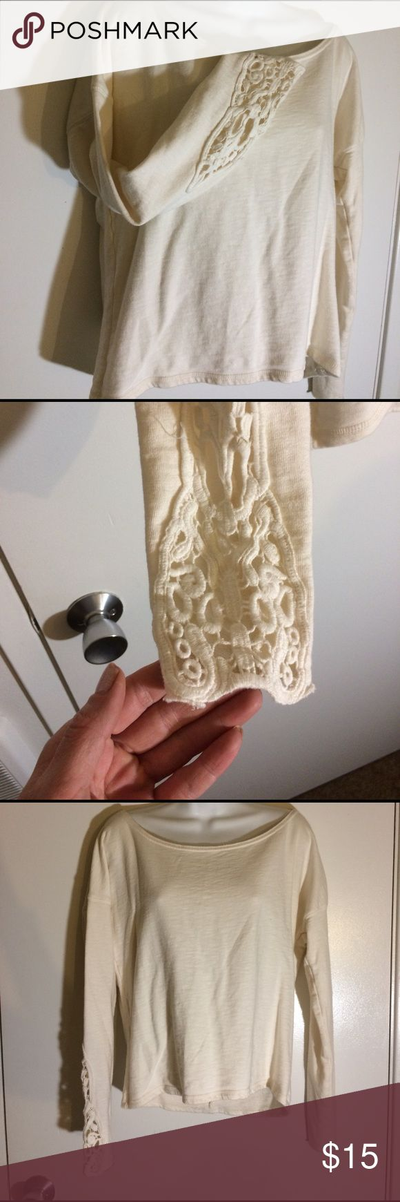 Aeropostale Sweatshirt Size medium. Cream color. Sweatshirt crewneck style. Lace detail crochet sleeves. Zip up back . By Aeropostale brand . No flaws . Wrapped and shipped with care. Aeropostale Tops Sweatshirts & Hoodies