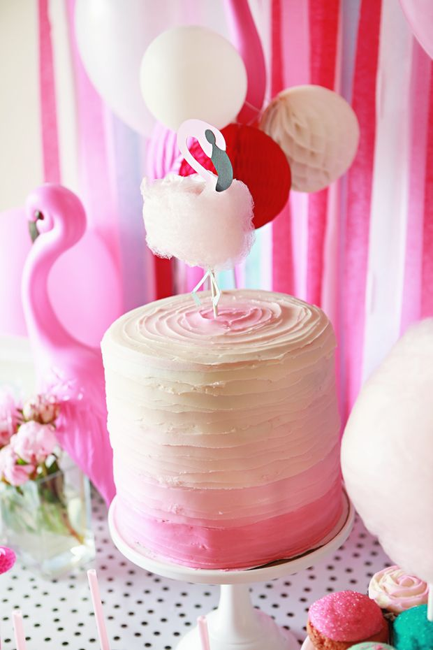 Flamingo Cake Little Girls Birthday Party Inspiration