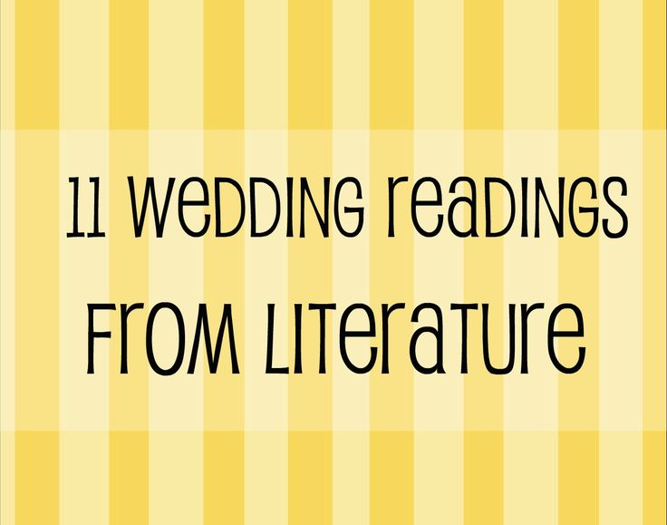 Wedding Readings From Books, Literature & Poetry