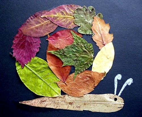 How lovely to use assorted leaves to create a snail.