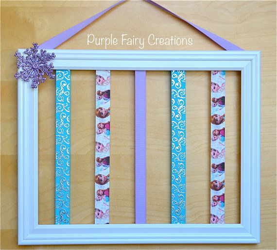 Frozen Accessories Organizer Picture Frame - White, Lavender, Turquoise, Elsa, Anna, Snowflake, Hooks (Hair Bow & Headband Holder) Baby Girl, Girl, Teen Room Wall Decor (Organizador de Accesorios del Cabello / Pelo para Niña) by PurpleFairyCreations