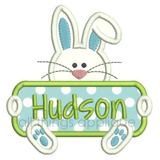 Easter Bunny Sign Applique Design  4 Sizes by allthingsapplique