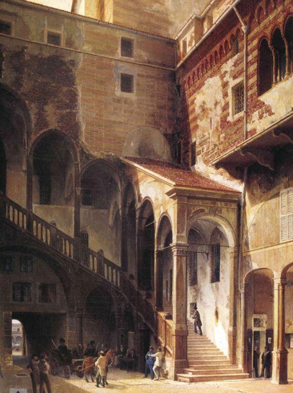 Giuseppe Ferrari,  Veduta del cortile del Mercato Vecchio,  1865, olio su tela, cm 154 x 115, Collezione Banca Popolare di Verona, Gruppo Banco Popolare