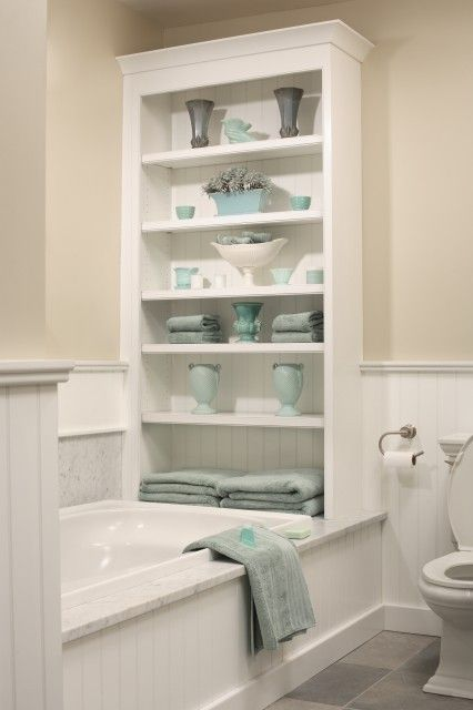 less expensive version - add a bookcase on the tub @ MyHomeLookBookMyHomeLookBook