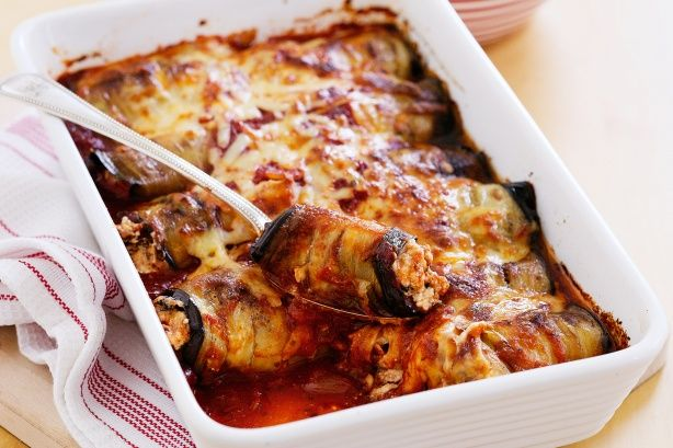 Baked cheesy eggplant rolls main image