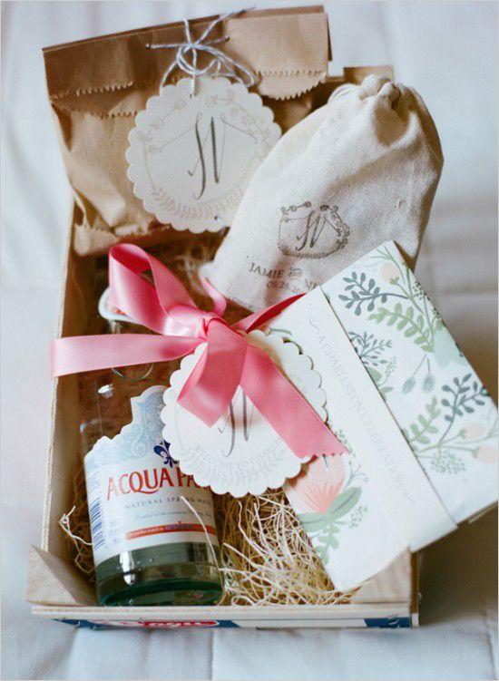 Wedding welcome baskets for destination wedding. Event Design: Jamie ...