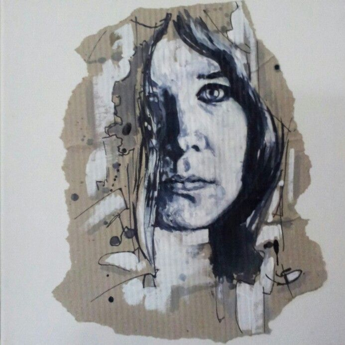 Ink and gouche portrait,cardbord on canvas