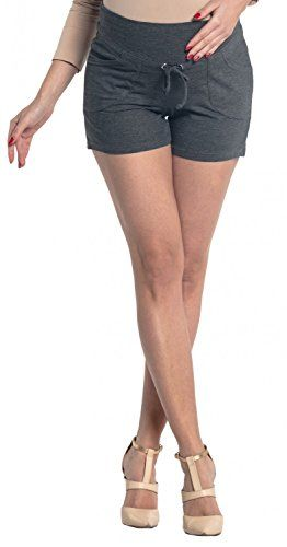 Zeta Ville  Womens Maternity Short Trousers Pockets Pants  Waistband  259c Graphite Melange US 10 XXL -- Want additional info? Click on the image. Note: It's an affiliate link to Amazon.