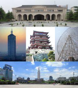 No sentido horário da parte superior: Novo Quarto Exército Sede, Estrela de Nanchang, Bayi Square, Nanchang nascer do sol, Tengwang Pavilion.