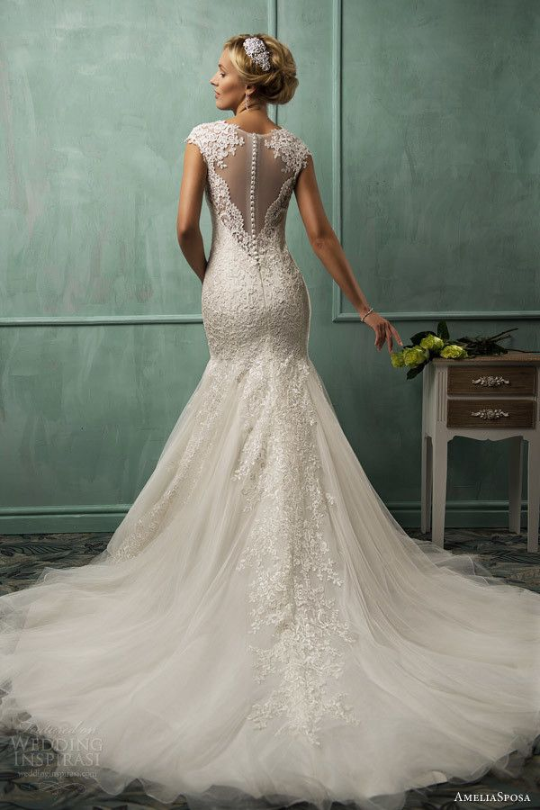 amelia sposa wedding dresses 2014 lanta cap sleeve fit flare gown illusion