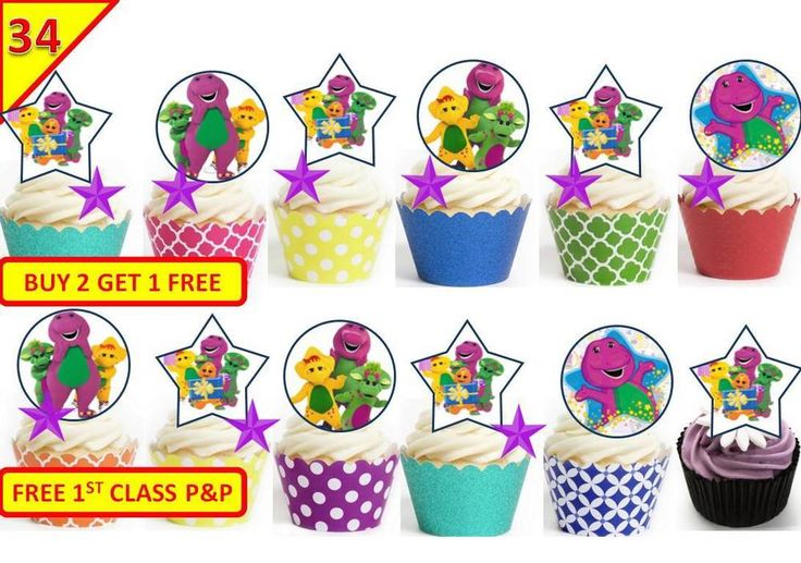 34 Barney Dinosaur Birthday Party Cup Cake Fairy Wafer Toppers Edible STANDUP