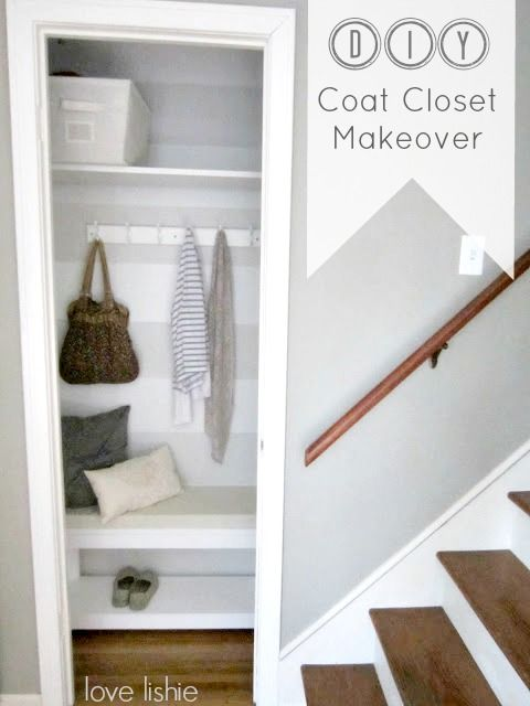DIY Coat Closet Makeover - Love the stripes in this Coat Closet Makeover. The bench is perfect for a place to take shoes on and off! I seriously love this! www.lovelishie.blogspot.com