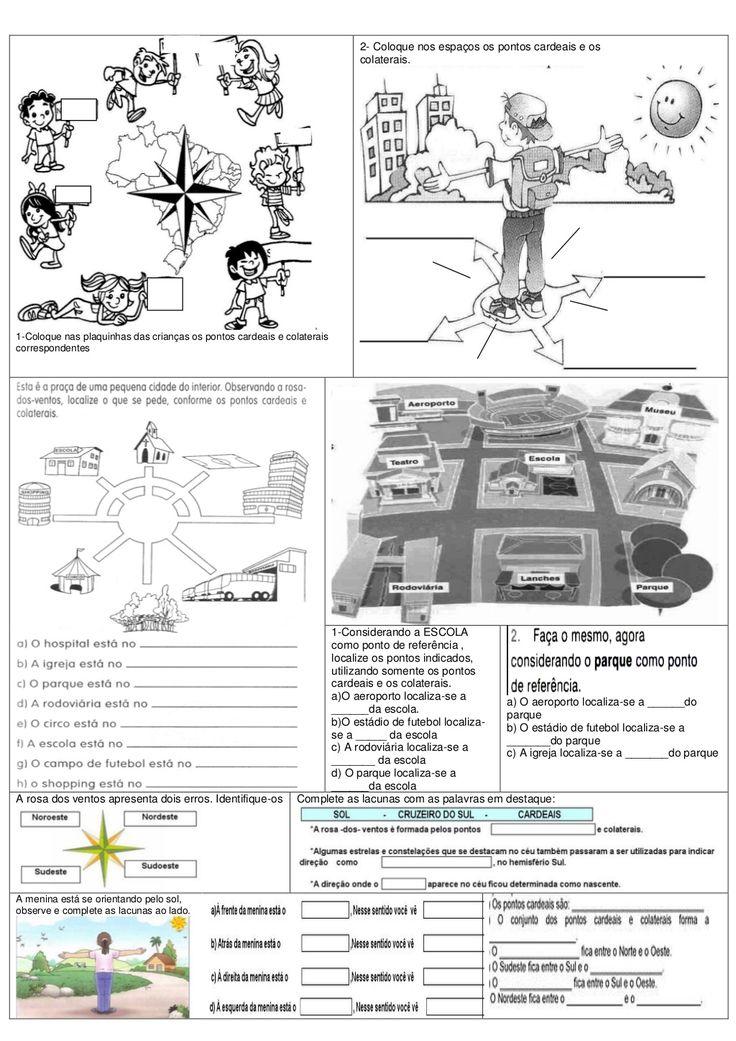 s1-Coloque nas plaquinhas das crianças os pontos cardeais e colateraiscorrespondentes2- Coloque nos espaços os pontos card...
