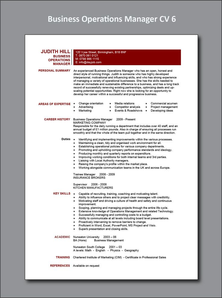 Business Operations Manager Resume in 2020 (With images