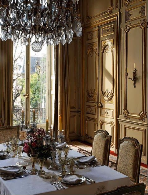 Habitually Chic: Last of the Autumn Inspiration Baroque style panelled  walls and doors in this grand dining room.