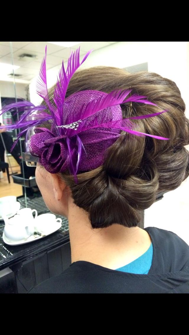 Purple fascinator, special occasion hair, hair up