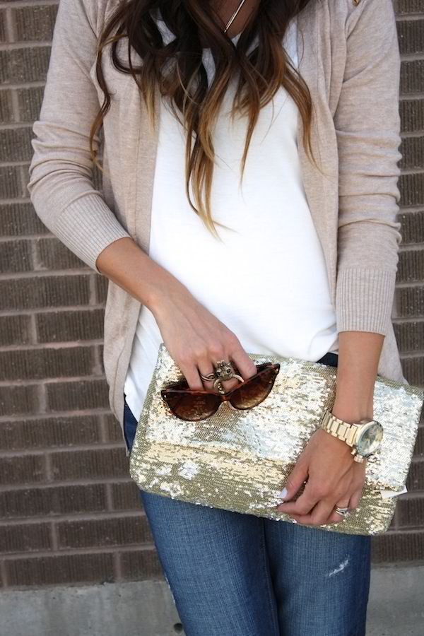 casual outfit and sequin bag. #dayshine #style #zappos