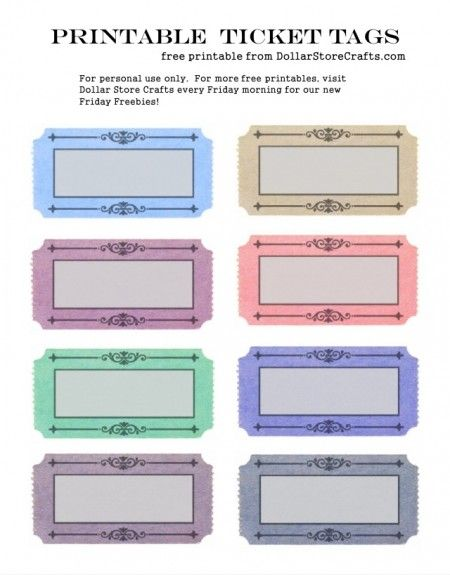 Free Printable: Colorful Ticket Tags - great for labeling bins and boxes!