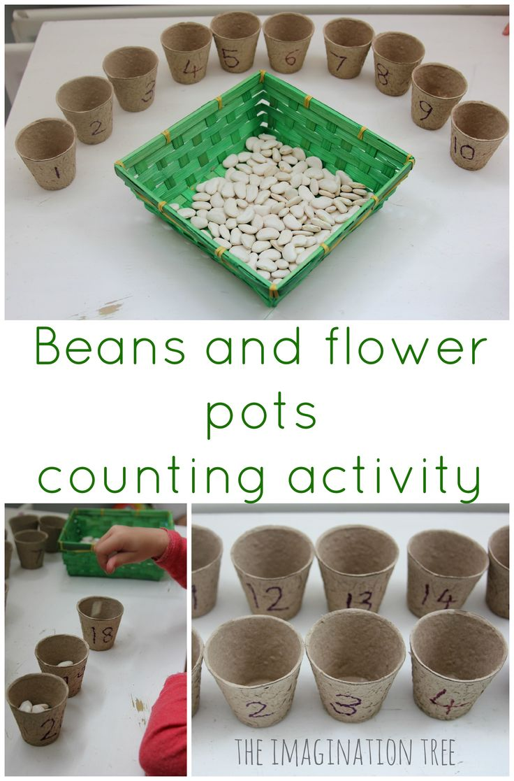 Have fun playing this beans and flower pots counting activity using the simplest of materials! Playful, hands-on maths game for preschoolers and school age