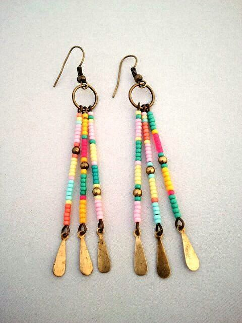 Boho Southwest Style Color Block Seed Bead Earrings - The Cheyenne Earrings via Etsy