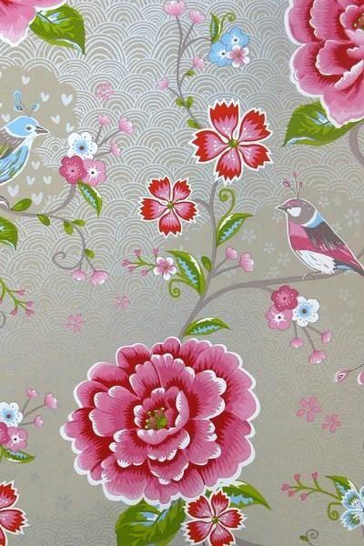 313014 birds in paradise khaki eijffinger pip studio behang vogel bloemen vliesbehang www.wemekampschildersbedrijf.nl