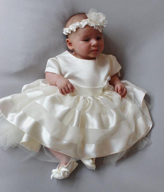 SALE! Baby Girl Silk Christening Dress, Vintage Style Lace Silk Baptism Dress, Luxurious Silk Satin Christening Dress, First Birthday Dress