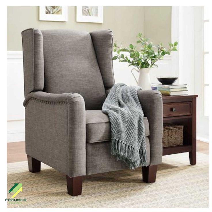 gray better homes u0026 gardens grayson upholstered wingback pushback recliner