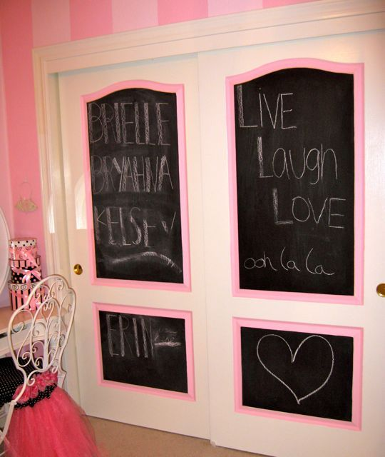 little pink paris room chalk board paint on closet doors