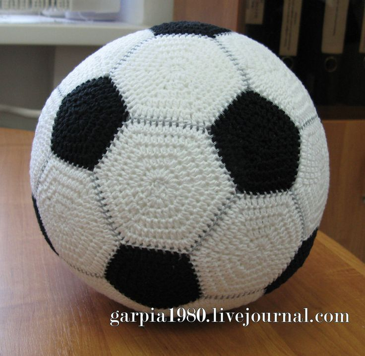 Soccer ball - voetbal, found on : http://ru-knitting.livejournal.com/4536893.html  Chart pattern. The white hexagons are bigger then the black ones. You have to crochet 16 white and 10 black hexagons.