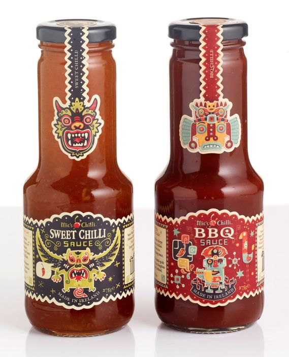 Steve Simpson's illustrated chilli sauce bottles. Amazing use of vector based character imagery to create a strong branding aesthetic. LOVE the Day of the Dead inspired Inferno flavour levels!
