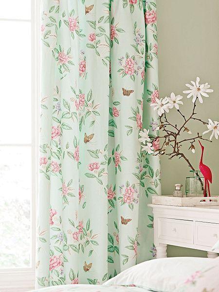 Chinoiserie curtains 66x72  aqua
