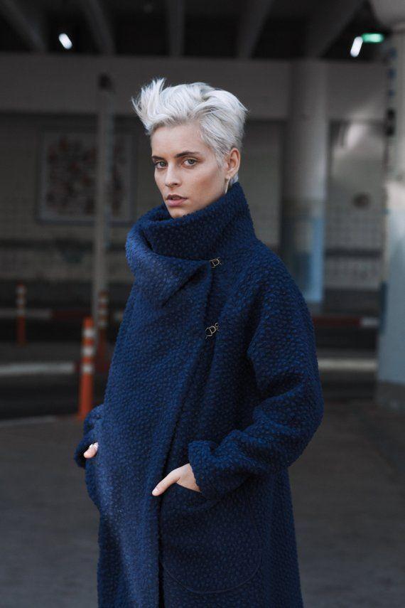 Coat Cardigan, Blue Coat, Plus Size Clothing, Wrap Cardigan, Womens Coat, Avant Garde Clothing, Wool Coat, Oversized Coat, Wool Clothing 13