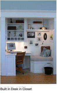 Built-in desk and bench - perfect for the vent in his-soon-to-be-office