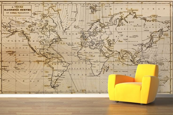 Magnetic Curves Map Wall Mural