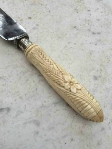 Victorian Bread Knife with Carved Ivory Handle
