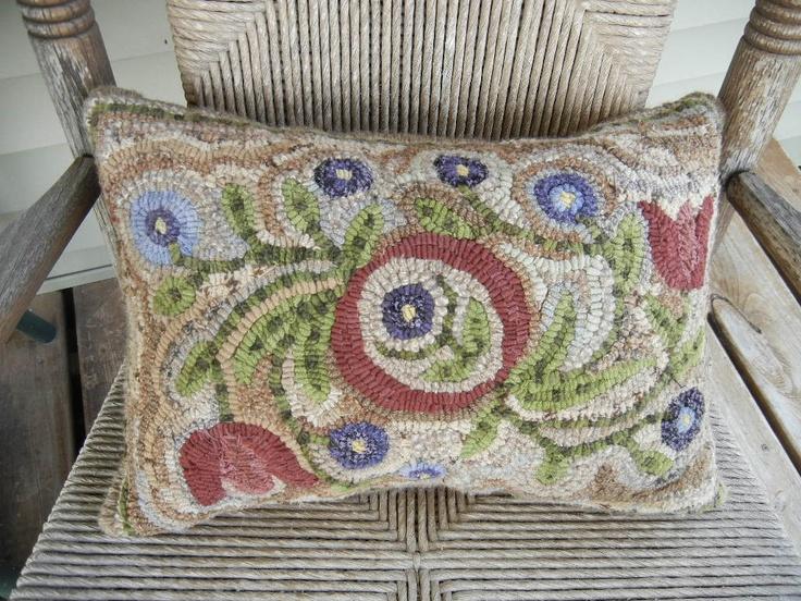 Folk Art Primitive Hand Hooked Rug  Spring Flowers Pillow