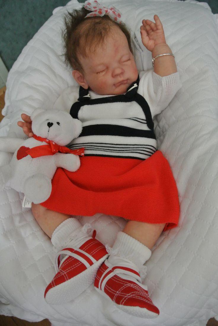 vintage baby jurkje zonder mouwen met bijpassend wit basic truitje vintage gebreid Smufje rood wit blauw fris setje baby reborn doll pop door Smufje op Etsy