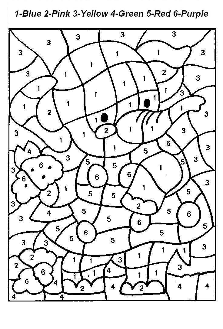Free printable color by number code coloring pages for
